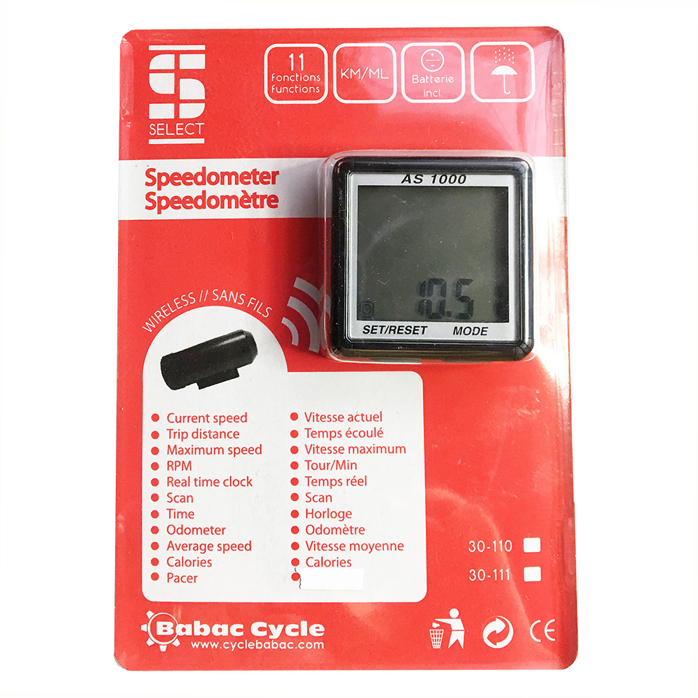 AS-1000 Wireless Speedometer Bicycle Computer - Black