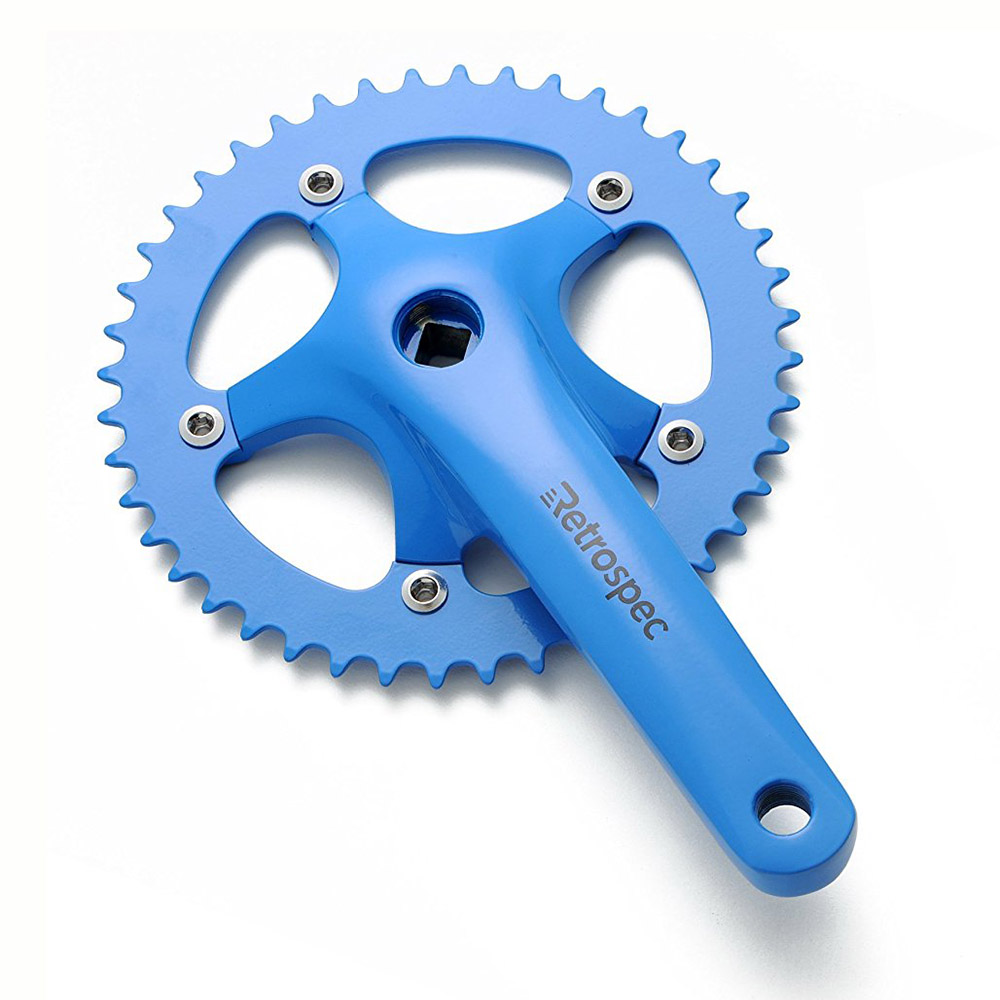 Single Speed Road Bicycle Forged Crankset, Blue